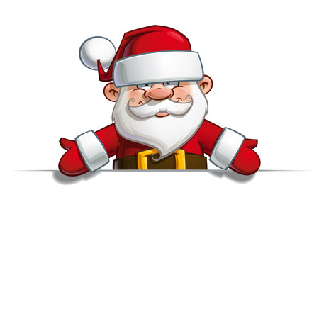 Cartoon vector illustration of a happy Santa Claus showing with open hands towards a blank space. Illustration
