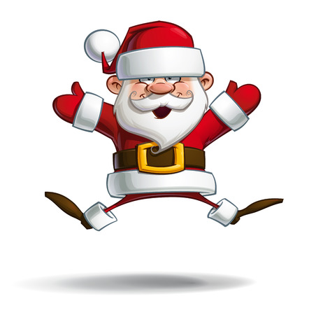 open arms: Cartoon vector illustration of a happy Santa Claus jumping in the air with open arms.