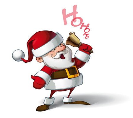 pere noel: vecteur Illustration de bande dessinée d'un sourire de Santa Claus sonner une cloche et appelant Ho ho ho.