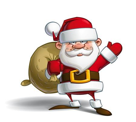 pere noel: Vecteur illustration de bande dessinée d'un heureux père Noël tenant un sac cadeau.