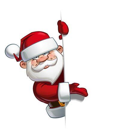 pere noel: Vecteur illustration de bande dessinée d'un heureux père Noël démontrant à un espace vide.