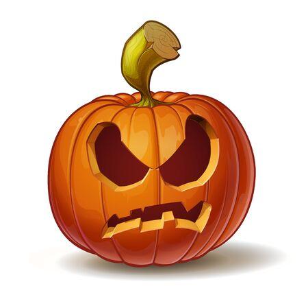 calabaza caricatura: Ilustración vectorial de dibujos animados de una calabaza Jack-O-Lantern curvada en una expresión de enojo, aislado en blanco. Vectores