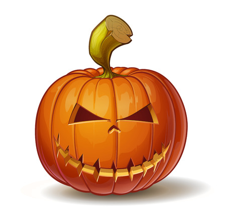 Cartoon vector illustration of a Jack-O-Lantern pumpkin curved in a mean expression, isolated on white.