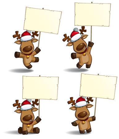 baile caricatura: Conjunto de ilustraciones de dibujos animados de un alce la Navidad que sostiene un cartel en 4 poses-temas. Cada pose en la capa separada. Vectores