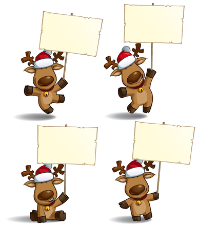 red hat: Set of a cartoon illustrations Christmas elk holding a placard in 4 poses-themes. Each pose on separate layer.