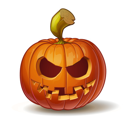 Cartoon vector illustration of a Jack-O-Lantern pumpkin curved in a smiling expression, isolated on white.