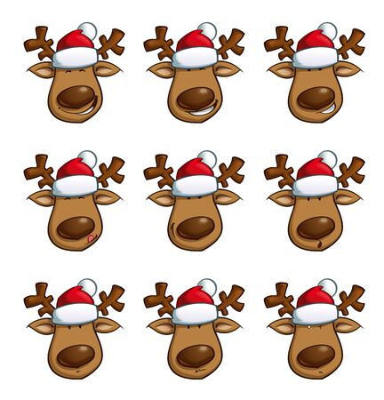 designated: Set of cartoon illustrations of a Christmas elk in 9 expressions. Each pose on a separate layer. Face, nose, hat and each eye are separately in designated groups for easy editing and combinations.