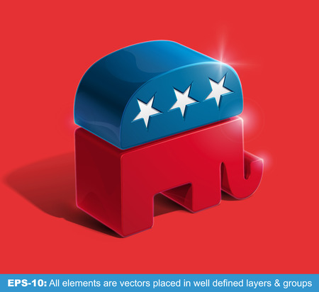 Vector illustration of the sign of United States Republican Party extruded in 3D. All graphic elements are vectors.