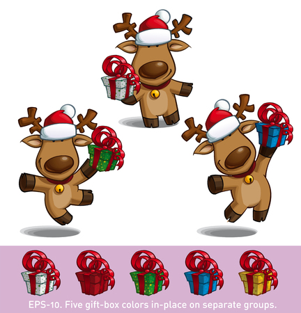 santa moose: Set of three cartoon illustrations of a Santas elk holding a gift in three poses-themes. Each pose on separate layer. All gift colors are in-place in separate groups for all poses.
