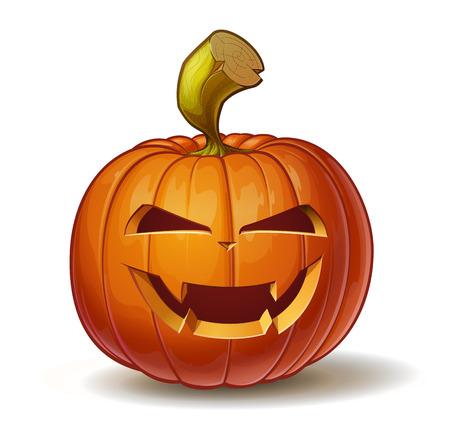 calabaza caricatura: Ilustración vectorial de dibujos animados de una calabaza Jack-O-Lantern curvada en una expresión de vampiros, aislado en blanco. Vectores
