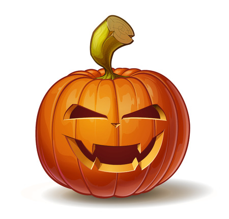 Cartoon vector illustration of a Jack-O-Lantern pumpkin curved in a vampire expression, isolated on white.
