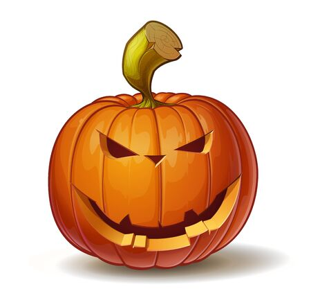 calabazas de halloween: Ilustración vectorial de dibujos animados de una calabaza Jack-O-Lantern curvada en una expresión sonriente, aislado en blanco.
