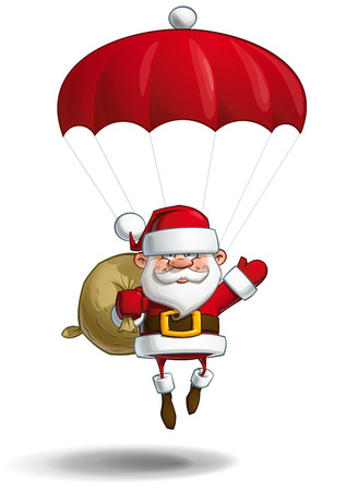 claus: Cartoon vector illustration of a happy Santa Claus falling with a parachute holding a gift sack.