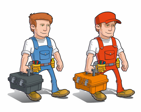Vector cartoon illustration of a handyman carrying a toolkit.