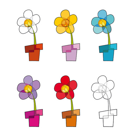 creative arts: Set of vector icon of a flower-pot in five colors and one blank. Illustration