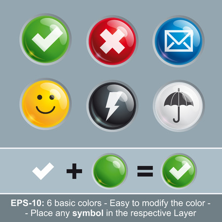 icon buttons: Set of vector icon buttons in six basic colors. Icon's Light, Shadow, Symbol, Color and Embossing in separate layers. Insert any symbol and change to any color by modifying the respective layer.