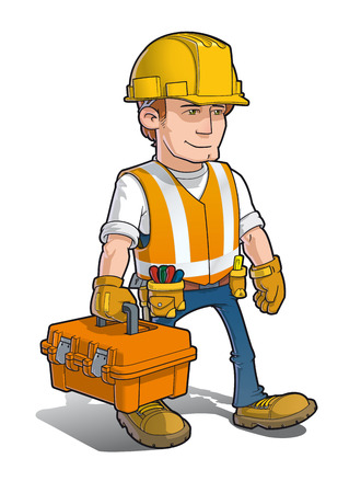 Vector cartoon illustration of a Construction Worker carrying a toolkit. Vectores