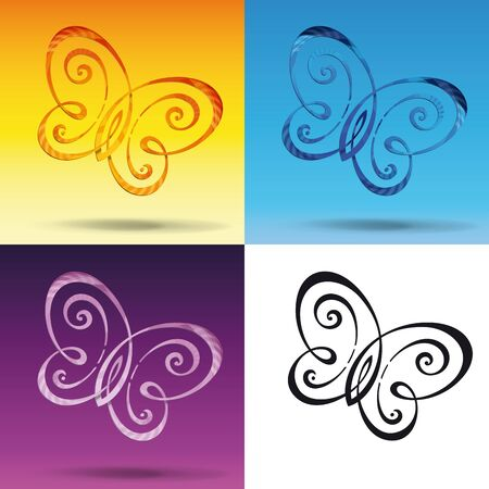 3 dimensions: Vector Illustration of a symbol resembling a Butterfly in tree color variations and a flatten black. The lines are interlinked in 3 dimensions and drop shadow on each other depending their position.