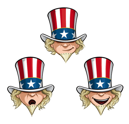 Vector Cartoon Illustration of Uncle Sam's head in three expressions.