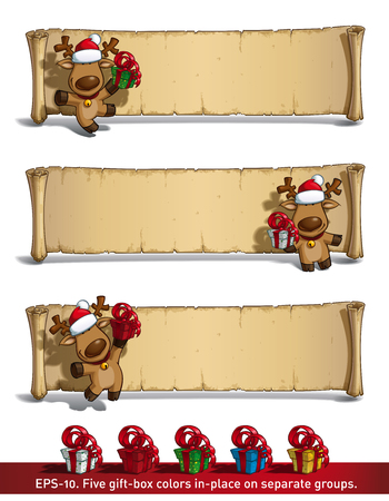 frond: Set of 3 poses-themes of a cartoon illustration of a Christmas elk holding a gift in frond of a scroll-old papyrus label against white. Each pose on separate layer. All gift colors are in-place in separate groups.