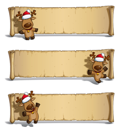 three layer: Set of three cartoon illustrations of a Santas elk holding a gift in three poses-themes against white. Each pose on separate layer. All gift colors are in-place in separate groups for all poses.