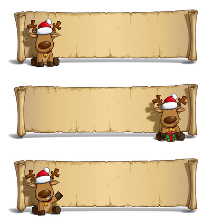santa moose: Set of 3 poses-themes of a cartoon illustration Santas Elk sitting in frond of a scroll-old papyrus label against white. Each pose on separate layer. Illustration