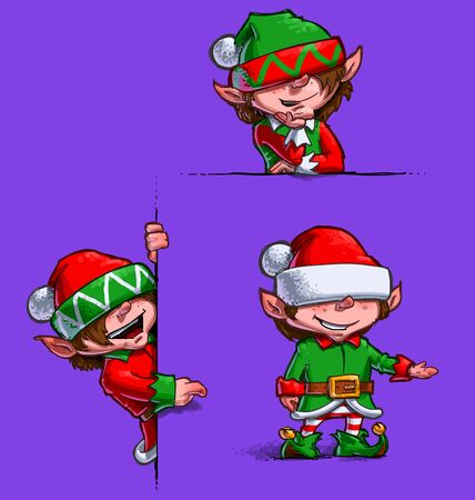 elfs: Set of 3 themes of  cartoon illustrations of Santas Elfs showing on emty label. Each pose on separate layer.