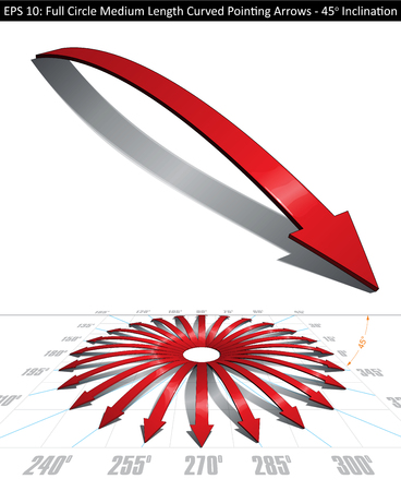 medium length: Set of medium length curved arrows. Pointing directions every 15 degrees covering a full circle. Easy to change color, keep or remove any element with the file�s well organized and defined layer structure.  Arrow on separate group - Lines, Color, Shadow,