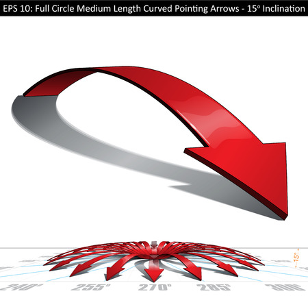 medium length: Set of medium length curved arrows. Pointing directions every 15 degrees covering a full circle. Easy to change color, keep or remove any element with the file's well organized and defined layer structure.  Arrow on separate group - Lines, Color, Shadow,  Illustration