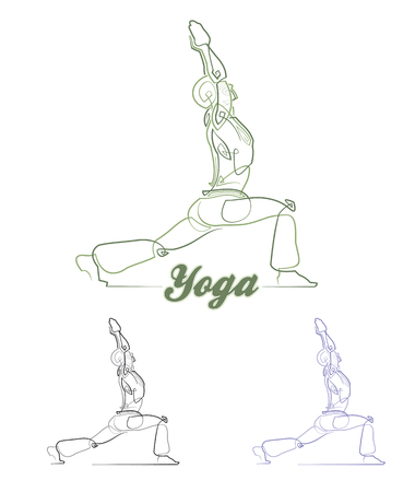 ballpark: EPSON: Abstact illustration of Yogas Virabhadrasana pose Easy to change the colors - all elements neatly on layers and Groups. Font used: Ballpark. Fonts are for preview purposes only and are not included. Illustration