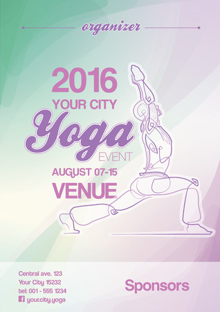 ballpark: Poster mockup for a Yoga event. All elements neatly on layers and Groups. Fonts used: Ballpark & Coolvetica. All fonts are for preview purposes only and are not included. Illustration