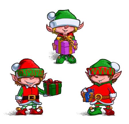 elfs: Set of 3 poses of cartoon illustrations Santas Elfs. Each pose on separate layer. Illustration