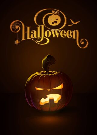 lighten: illustration of a Angry Toothy jack-o-lantern glowing in the dark. Included a custom typography Halloween based on the old Bodoni typeface. All elements neatly on layers and groups