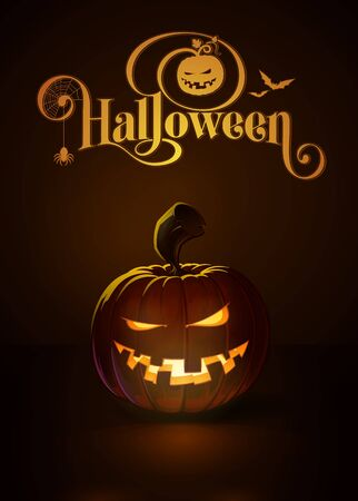 toothy: illustration of a Mean n Toothy jack-o-lantern glowing in the dark. Included a custom typography Halloween based on the old Bodoni typeface. All elements neatly on layers and groups Illustration