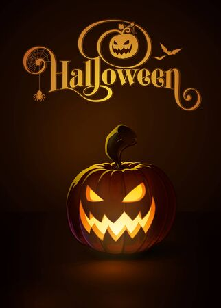 lighten: illustration of a Scary Cool jack-o-lantern glowing in the dark. Included a custom typography Halloween based on the old Bodoni typeface. All elements neatly on layers and groups