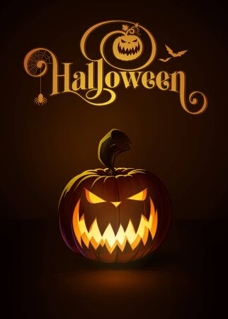 lighten: illustration of a Scary jack-o-lantern glowing in the dark. Included a custom typography Halloween based on the old Bodoni typeface.All elements neatly on layers and groups