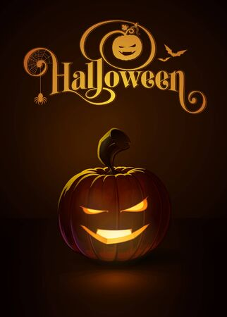 lighten: illustration of a Smart Vimpire jack-o-lantern glowing in the dark. Included a custom typography %u201CHalloween%u201D based on the old Bodoni typeface. All elements neatly on layers and groups