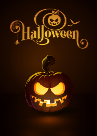 illustration of a Toothy Smile jack-o-lantern glowing in the dark. Included a custom typography Halloween based on the old Bodoni typeface. All elements neatly on layers and groups