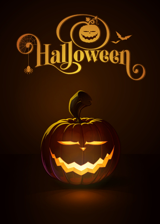 lighten: illustration of a Saber Smile jack-o-lantern glowing in the dark. Included a custom typography Halloween based on the old Bodoni typeface.All elements neatly on layers and groups