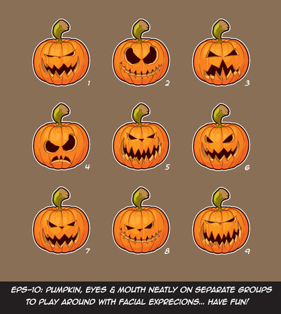 Vector icons of Jack O Lantern in 9 scary expressions. Each expression on separate Layer; Pumpkin, Eyes & Mouth on separate groups for further exploration of facial expressions.