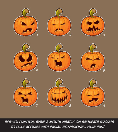 further: Vector icons of Jack O Lantern in 9 Angry expressions. Each expression on separate Layer; Pumpkin, Eyes & Mouth on separate groups for further exploration of facial expressions. Illustration