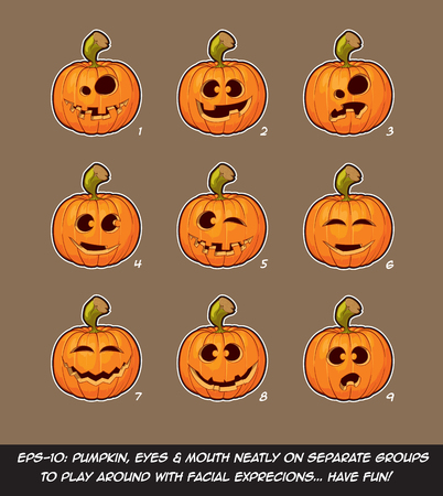 goof: Vector icons of Jack O Lantern in 9 happy, funny n goof expressions. Each expression on separate Layer; Pumpkin, Eyes & Mouth on separate groups for further exploration of facial expressions.