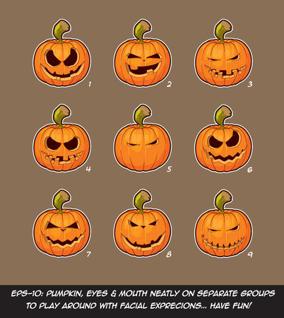 naughty: Vector icons of Jack O Lantern in 9 Mean, playful n Naughty expressions. Each expression on separate Layer; Pumpkin, Eyes & Mouth on separate groups for further exploration of facial expressions. Illustration
