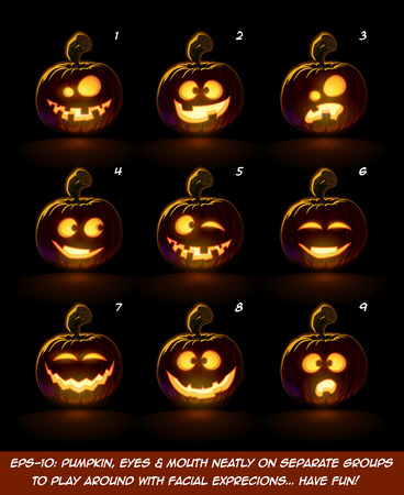 glow in the dark: Vector icons of a lighten Jack O Lantern glowing in the dark in 9 happy, funny n goof expressions. Each expression on separate Layer. Pumpkin, Eyes, Mouth, Glow and Floor Glow on separate groups.