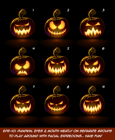 lighten: Vector icons of a lighten Jack O Lantern glowing in the dark in 9 scary expressions. Each expression on separate Layer. Pumpkin, Eyes, Mouth, Glow and Floor Glow on separate groups. Illustration