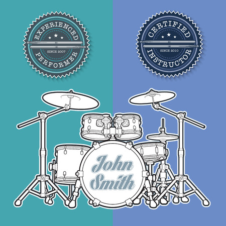 drum kit: Vector Illustration of a Drum Kit and Seals for Instructors and Performers.  All element neatly on well-defined layers and groups for easy editing. Illustration