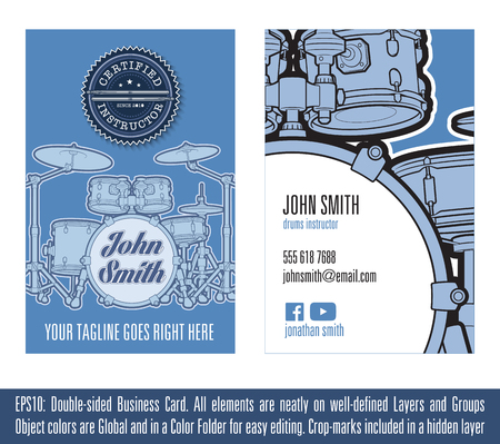 percussionist: Print ready Business Card Concept for Drums Instructors. All elements neatly on well-defined layers and groups. Colors are Global, on sets and named after their respective object. Fonts not included