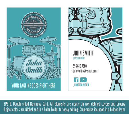 percussionist: Print ready Business Card Concept for Percussionists. All elements neatly on well-defined layers and groups. Colors are Global, on sets  and named after their respective object. Fonts not included