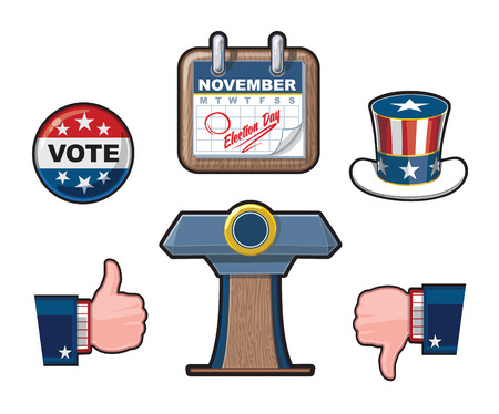 dislike it: Six Highly Detailed American Elections Vector icon set. It includes the  Uncle Sams hat, a calendar noting the Elections Day, Like & Dislike symbols and the Presidential Podium.
