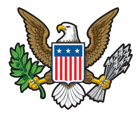 Vector illustration of the American Bold Eagle National Symbol. The design has two layers of shadow to give the illustration more depth.